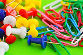 Close up of multicolored push pins — Stock Photo