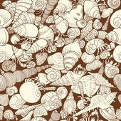 Seamless pattern with seashells — Stock Vector