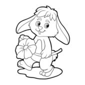 Coloring book (rabbit) — Stock Vector