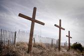 Três cruzes de madeira — Fotografia Stock