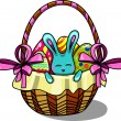 Easter bunny in a basket — Stock Vector #50582015