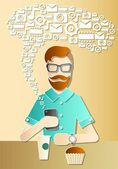 Hipster using his iphone — Stock Vector