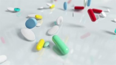 Slow motion Pill Capsules Falling — Stock Video