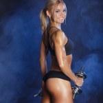 Sporty sexy girl with dumbbells studio photo on smoke background — Stock Photo #50579619