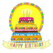 Birthday cake with burning candles — Stock Vector