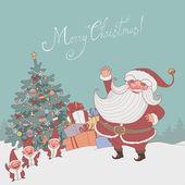 Christmas characters and christmas tree — Stock Vector