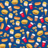 Fast food pattern — Stock Vector