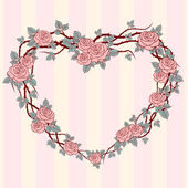 Heart frame with wild roses — Stock Vector