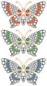 Jewelry butterflies — Stock Vector