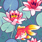 Goldfish among waterlilies — Stock Vector