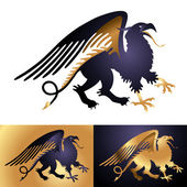 Heraldic mythology creature Griffin — ストックベクタ
