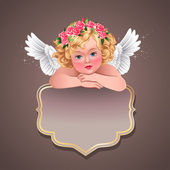 Vintage label with cherub. — Vetorial Stock