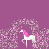 Unicorn in a garden — Stock Vector