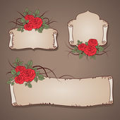 Vintage banners with wild roses — Stock Vector