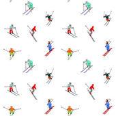 Happy skiers — Stock Vector