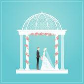Mariés en tonnelle — Vecteur