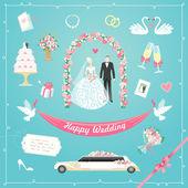 Conjunto de casamento — Vetorial Stock
