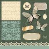 Scrapbook design with butterflies — Stok Vektör