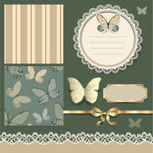 Scrapbook design with butterflies — Stock Vector