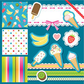 Ice cream scrapbook elements — Stock Vector