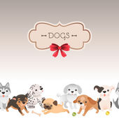 Greeting card with cute cartoon dogs. — Stock Vector