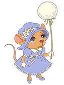 Mouse with a dandelion — Stockvektor