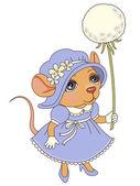 Mouse with a dandelion — Vector de stock