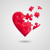 Broken puzzle heart  — Vettoriale Stock