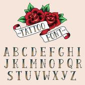 Tattoo style alfabeth — Stock Vector