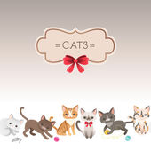 Greeting card with cute cartoon cats. — Stock Vector