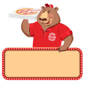 Pizza dağıtım kurye — Stok Vektör