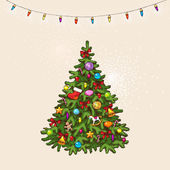 Vintage christmas tree — Stock Vector