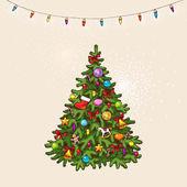 Vintage christmas tree — Vettoriale Stock