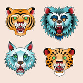 Tattoo heads of predatory animals — Stock Vector