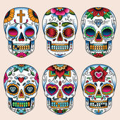 Set of tattoo art skulls in mexican style — Stock Vector