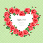 Red roses floral heart frame — Vector de stock