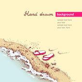 Flip-flops on sea shore. — Stock Vector