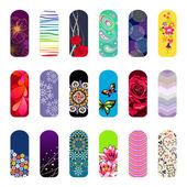 Set of nail art designs — Stock Vector