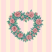 Floral wreath  for st Valentine's day — Stock Vector