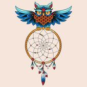 Tattoo owl — Vector de stock