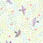 Flying birds in green blossoming garden — Stock Vector