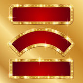 Holiday banners with gold border — Stock Vector