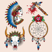 Set of old school tattoo art butterflies — Stock Vector