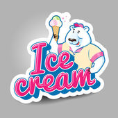 Cartoon polar bear selling ice cream — Vetorial Stock