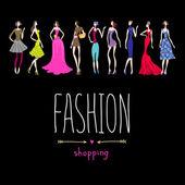 Sfondo dello shopping di moda — Vettoriale Stock
