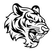 Roaring tiger black — Stock Vector