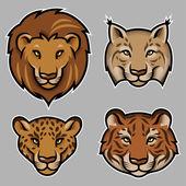 Set of stylized feline heads — Stock Vector