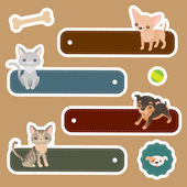 Labels with domestic animals — Stock Vector