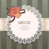 Round lace frame with decorative rose — Stock Vector