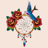 Tattoo dream catcher with roses and bird — Stock Vector